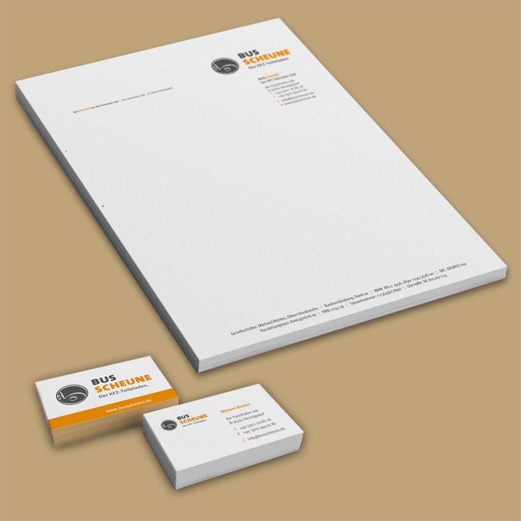 Bus Scheune Corporate Design und Geschäftsausstattung
