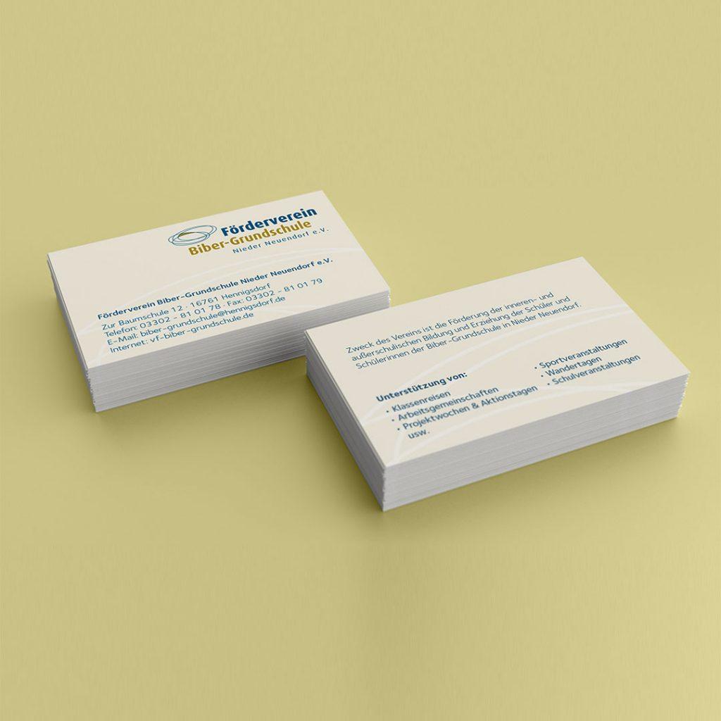 Förderverein Biber Grundschule Corporate Design und Visitenkarten
