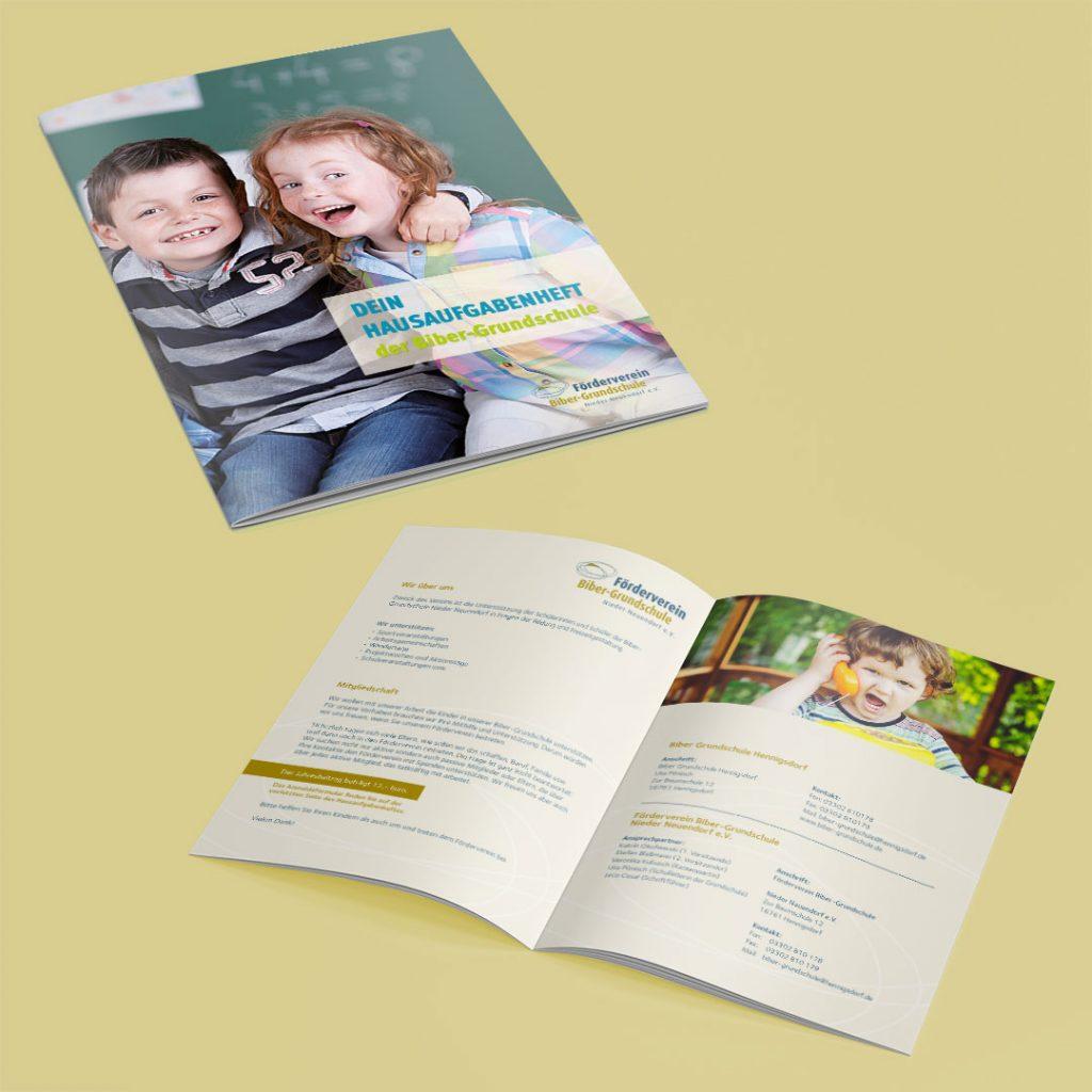 Förderverein Biber Grundschule Hausaufgabenheft und Broschüre