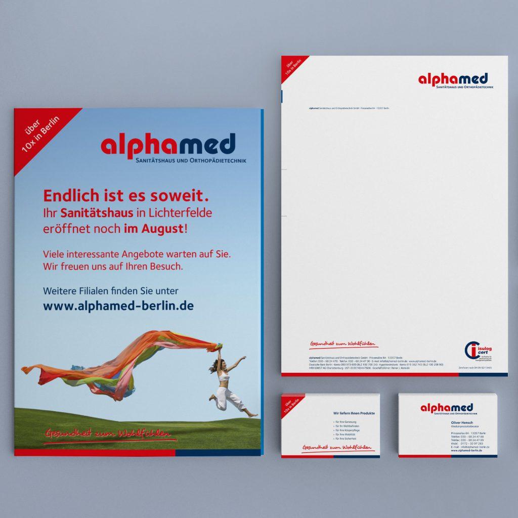 alphamed Corporate Design und Geschäftsausstattung
