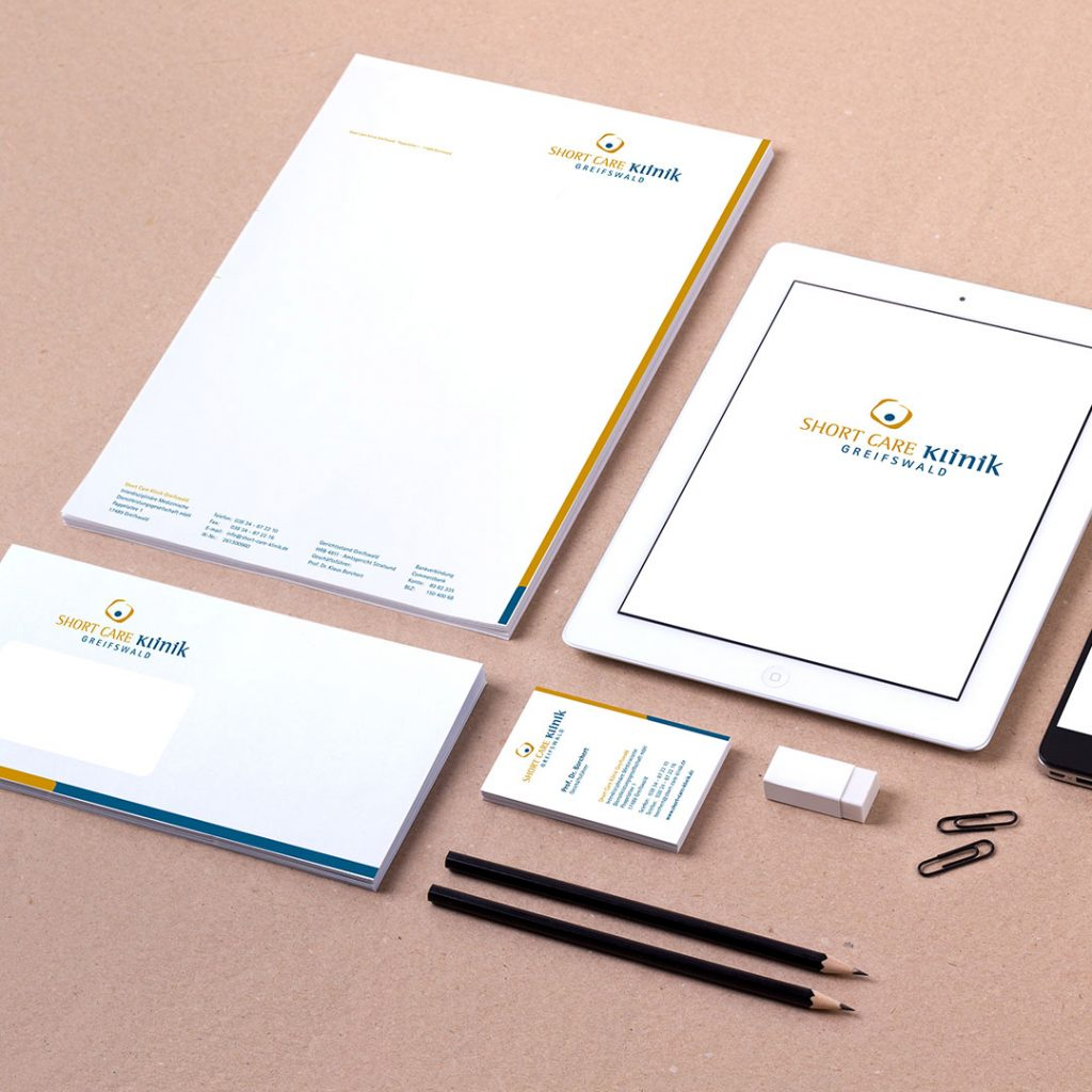 shortcare klinik Corporate Design und Geschäftsausstattung
